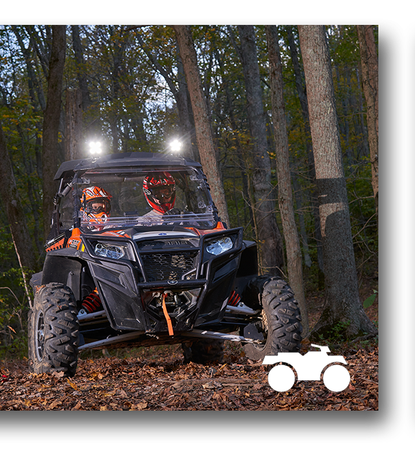 BriteZone LED Lights on an Off-Road ATV driving on a dirt trail