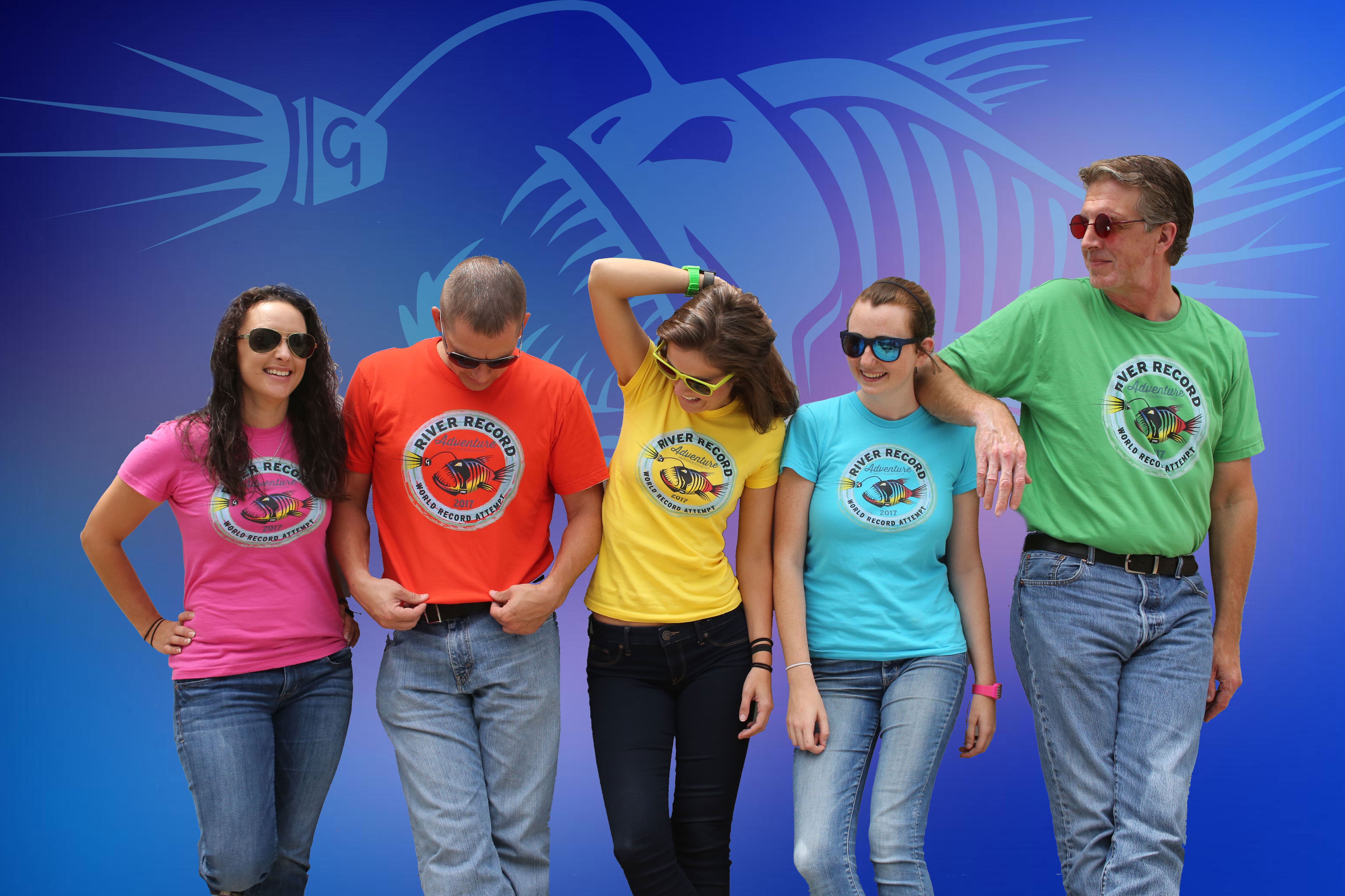 Grote marketing team wearing River Record Adventure t-shirts