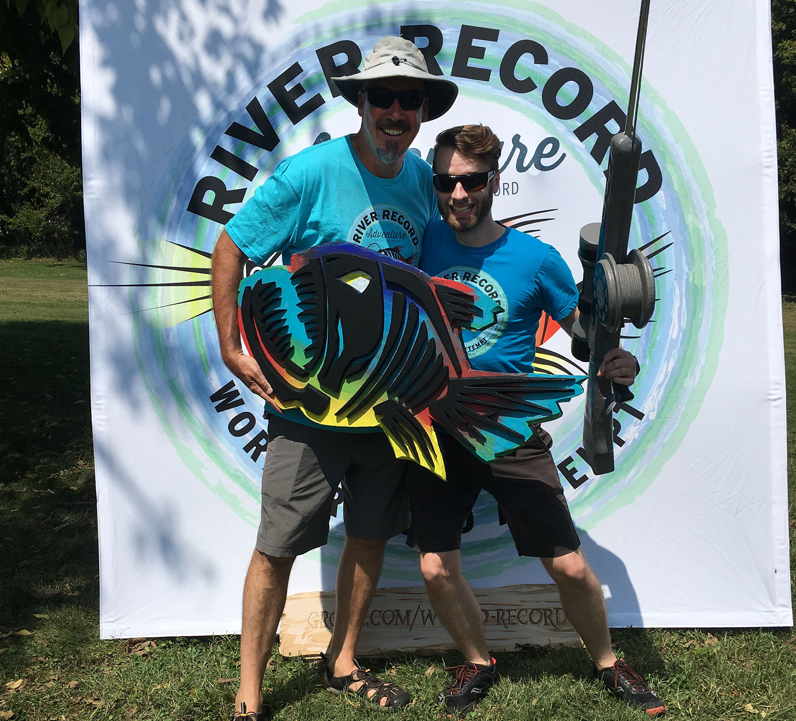 Marc Phelps poses with a fan at the River Record Adventure kickoff party in Madison