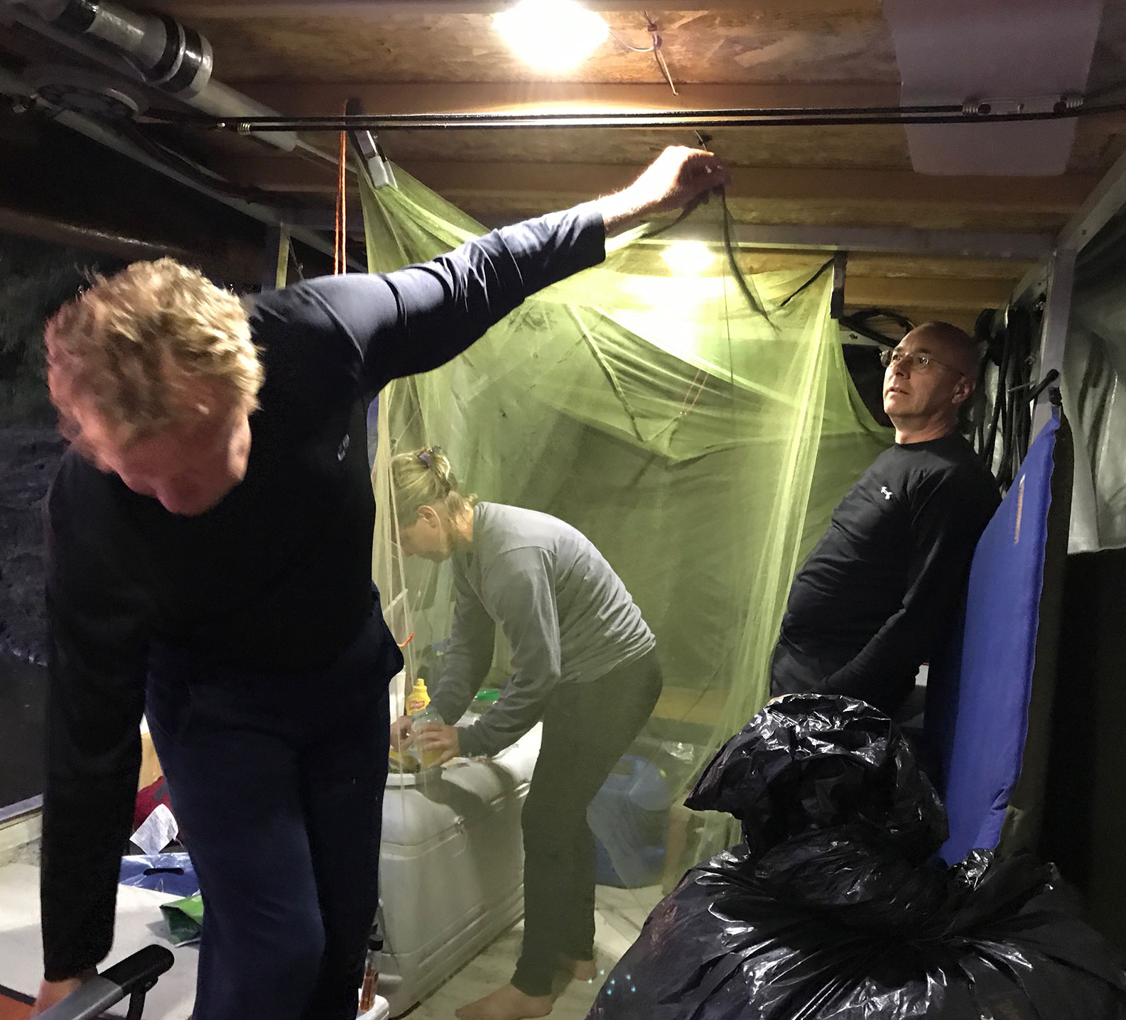 putting up a bug net on the jon boat