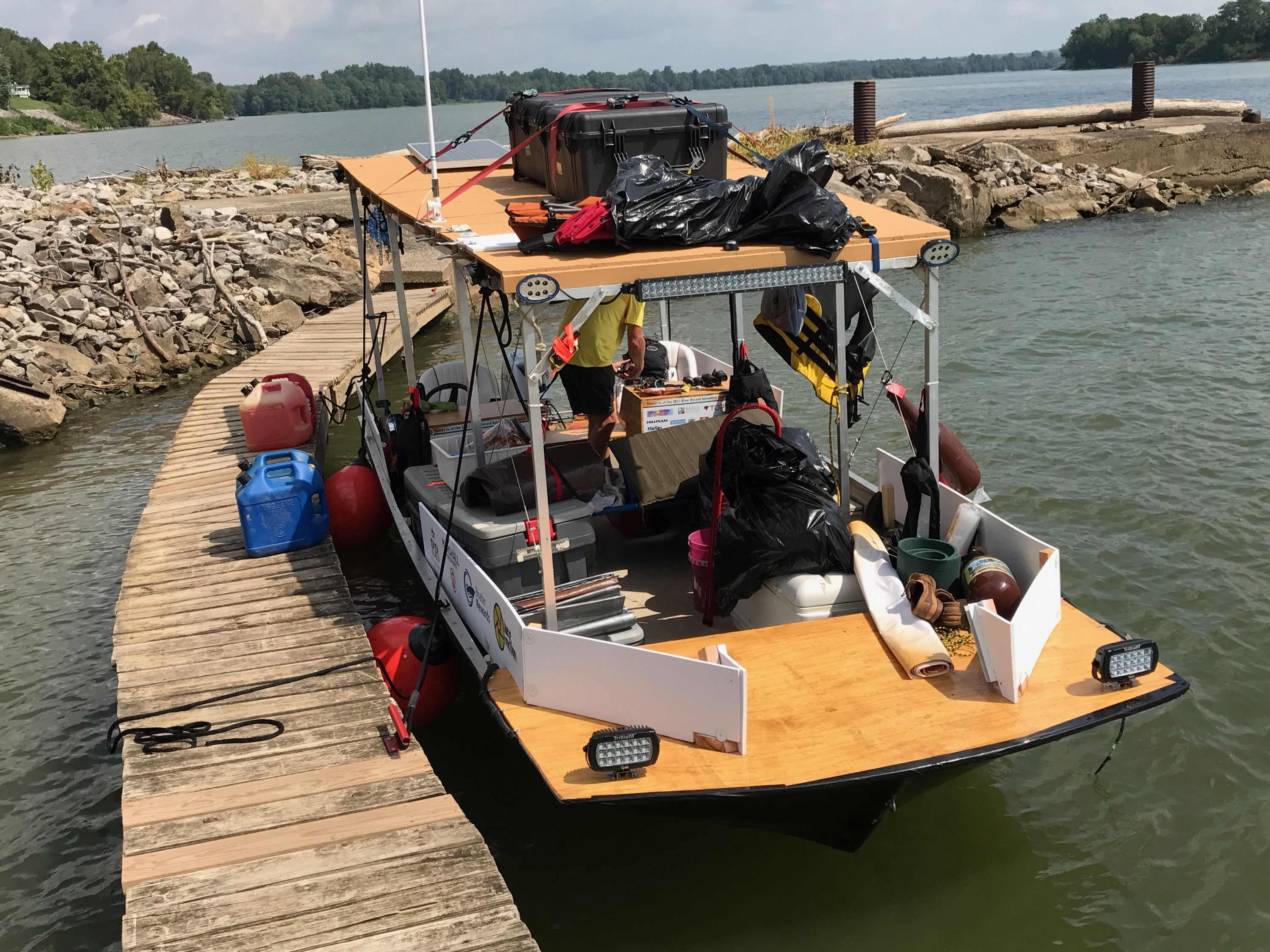 River Record Adventure Jon Boat docked at Derby Landing in Indiana