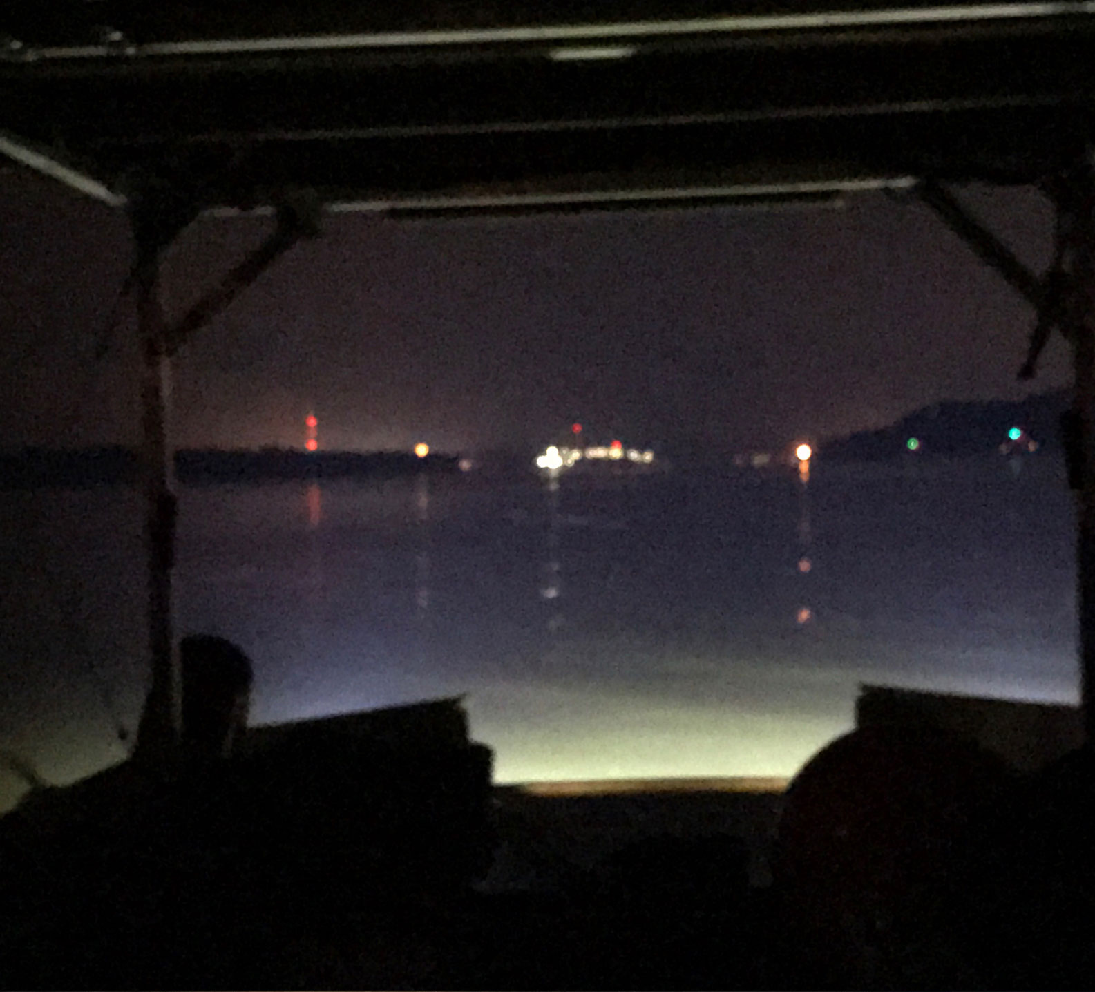 Grote lights lighting up the water from the River Record Adventure jon boat