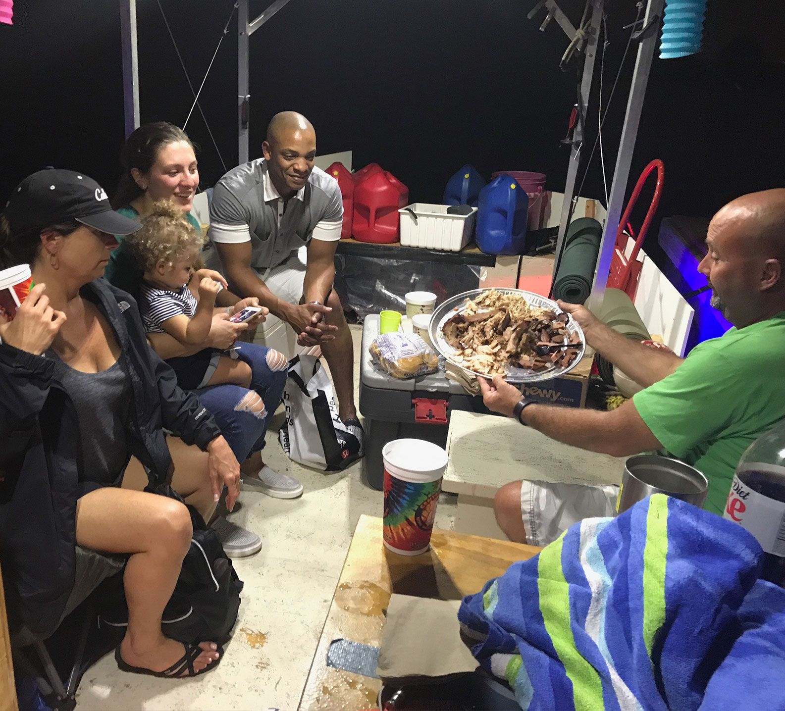 Memphis BBQ dinner on jon boat