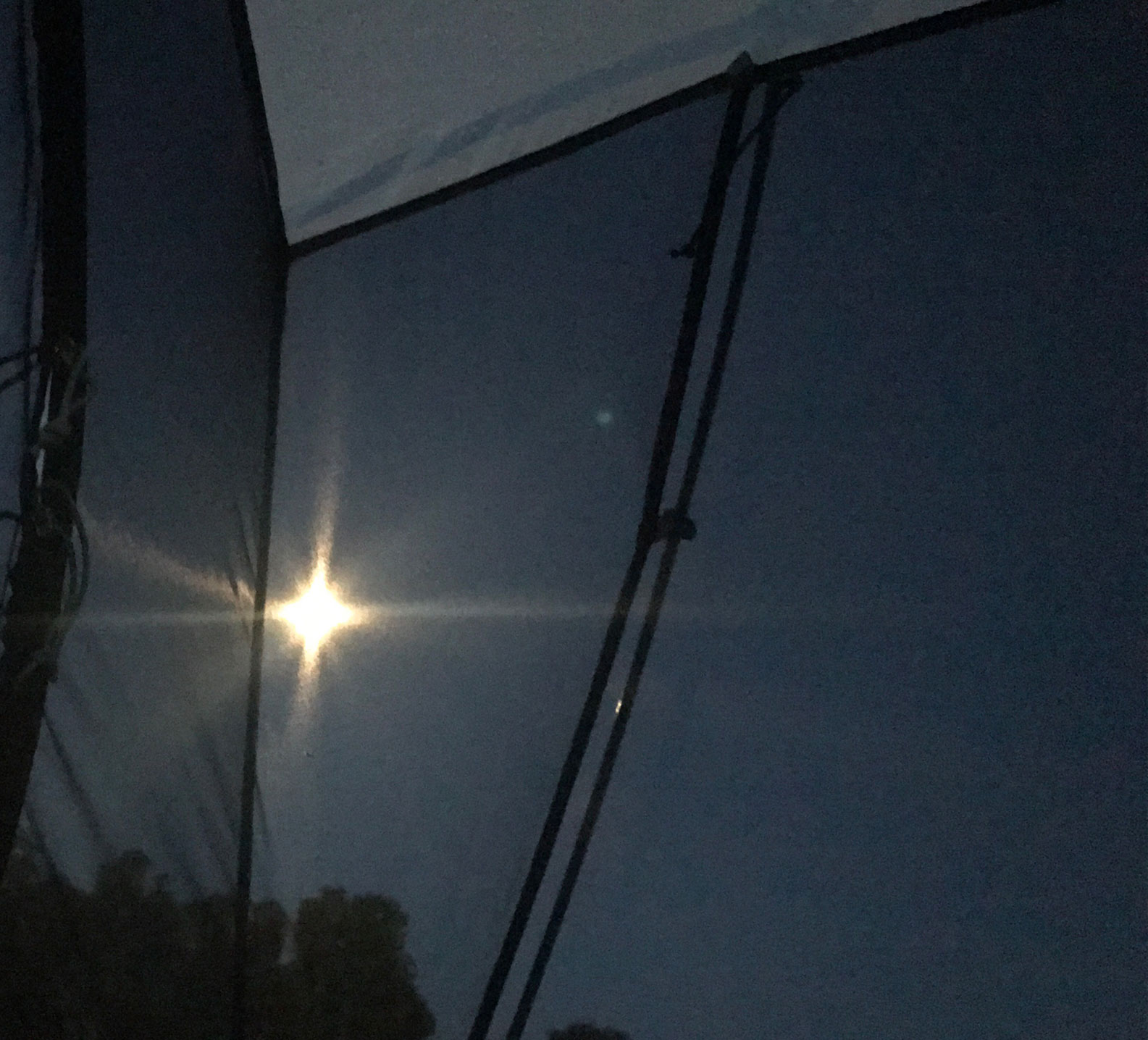Picture of moon from tent in the morning