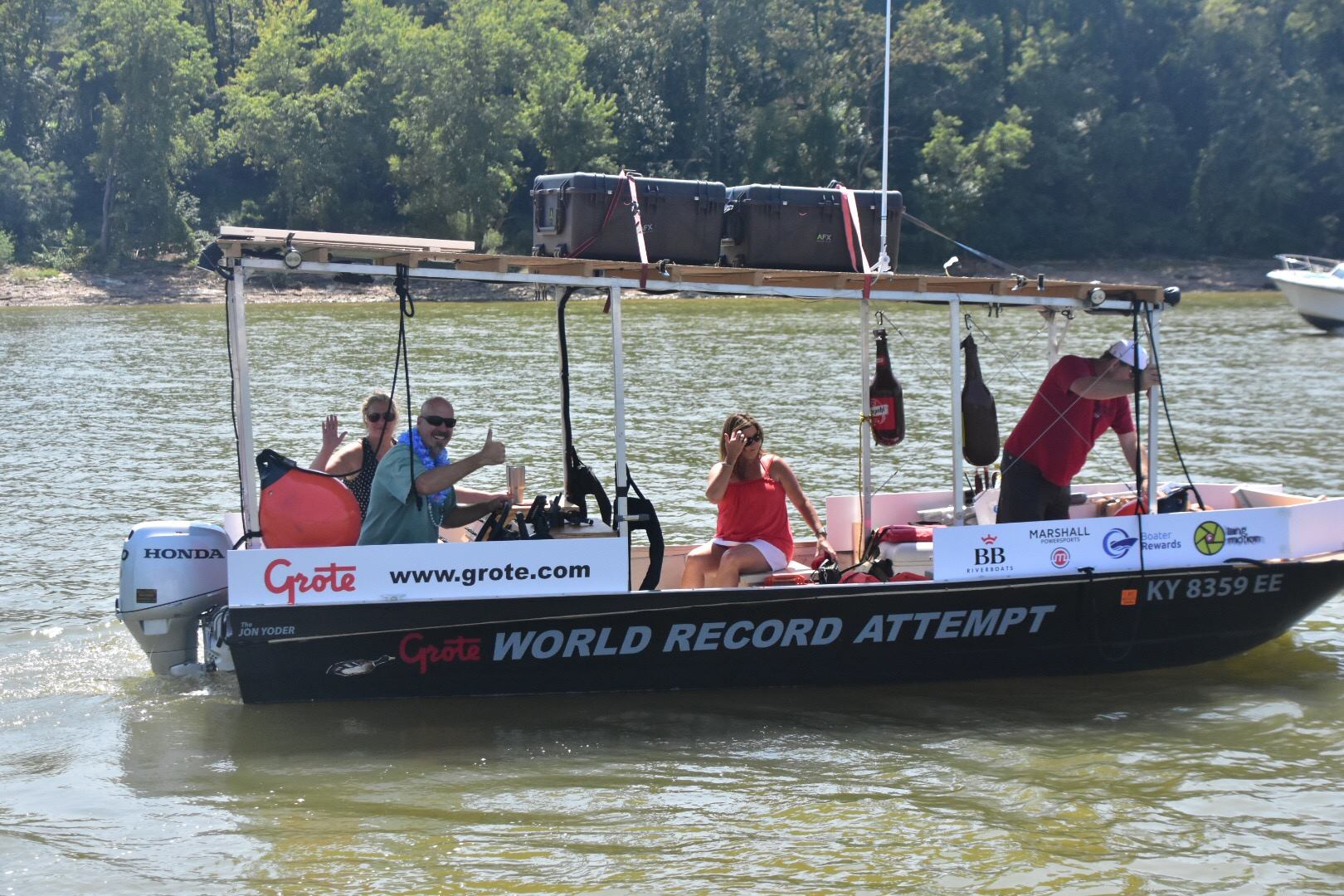 Marc Phelps on his jon boat during his attempt to break the world record