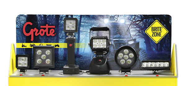 Exhibidor de mostrador de faros de trabajo LED BriteZone