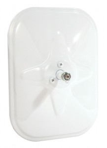 Rolled-Rim Mirror with Ball Swivel, White