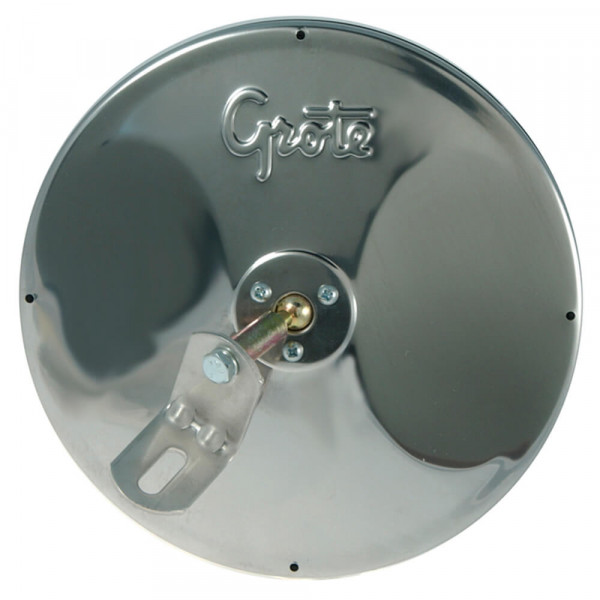 """8"""" Round Convex Mirror with Center-Mount Ball-Stud, w/ Attached """"L"""" Bracket, Stainless Steel"""