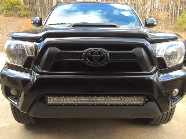 30 inch LED light bar on front of truck