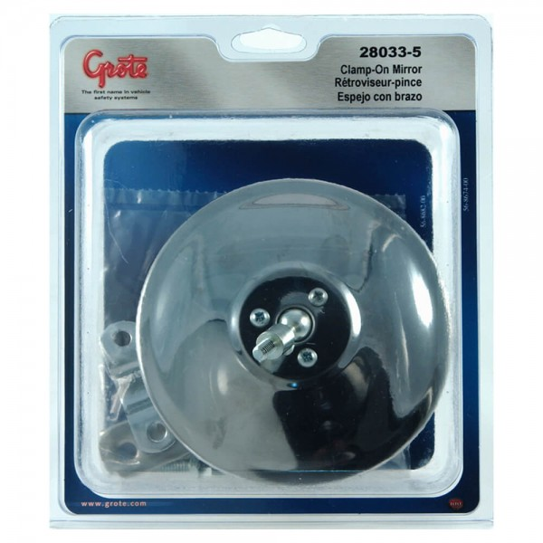 """5"""" Round Clamp-On Spot Mirror, Stainless Steel, w/ Arm Assembly, Retail Pack"""