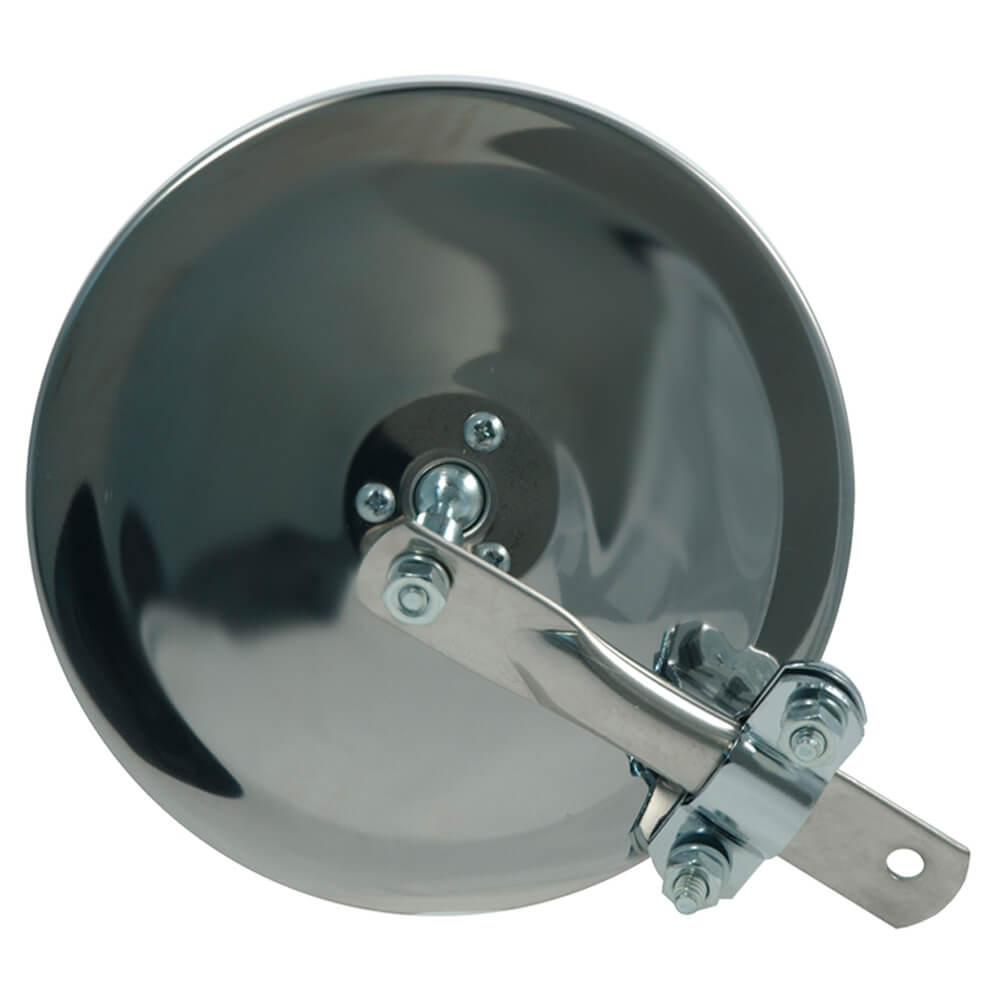 """6"""" Convex Center-Mount Spot Mirror, w/ Arm Assembly, Stainless Steel"""