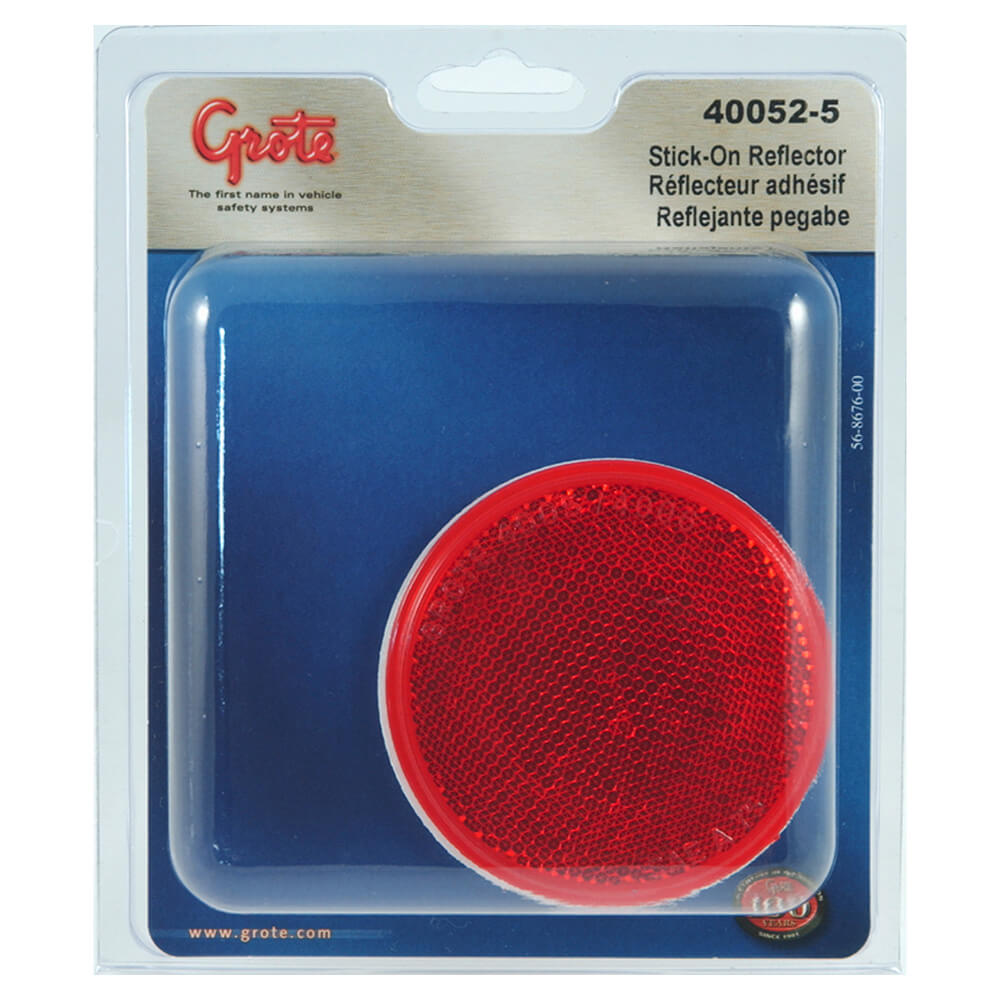 Reflector redondo adhesivo, Rojo, paquete al por menor