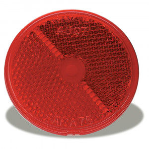 "2 1/2"" Round Stick-On Reflector, Red"