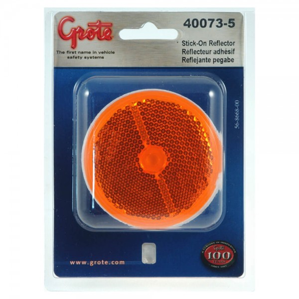 """2 1/2"""" Round Stick-On Reflector, Amber, Pair Pack"""
