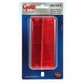 Mini Stick-On Screw-Mount Rectangular Reflectors, Red, Pair Pack