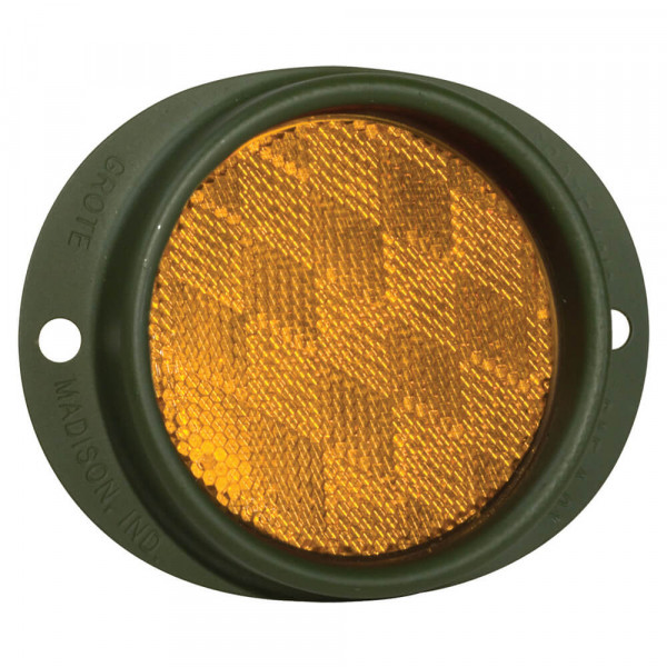 Steel Two-Hole Mounting Reflector, Amber