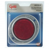 Aluminum Two-Hole Mounting Reflector, Red, Retail Pack