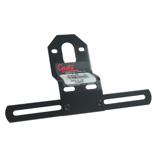 Universal Steel Offset License Plate Bracket, Black, Retail Pack