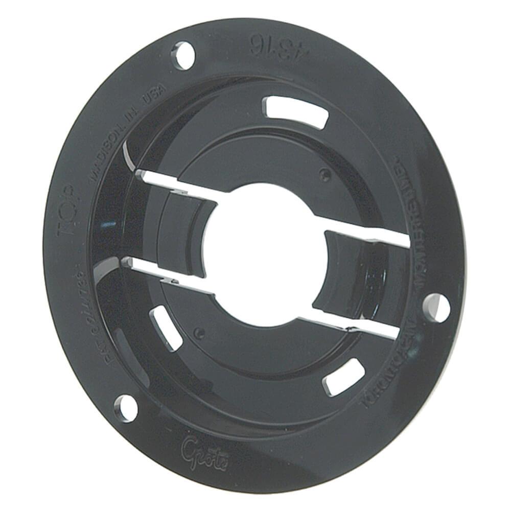 """Brida antirrobo de montaje y tapa de retención de conector flexible para luces redondas de 2 1/2"""", Brida de montaje, negro"""
