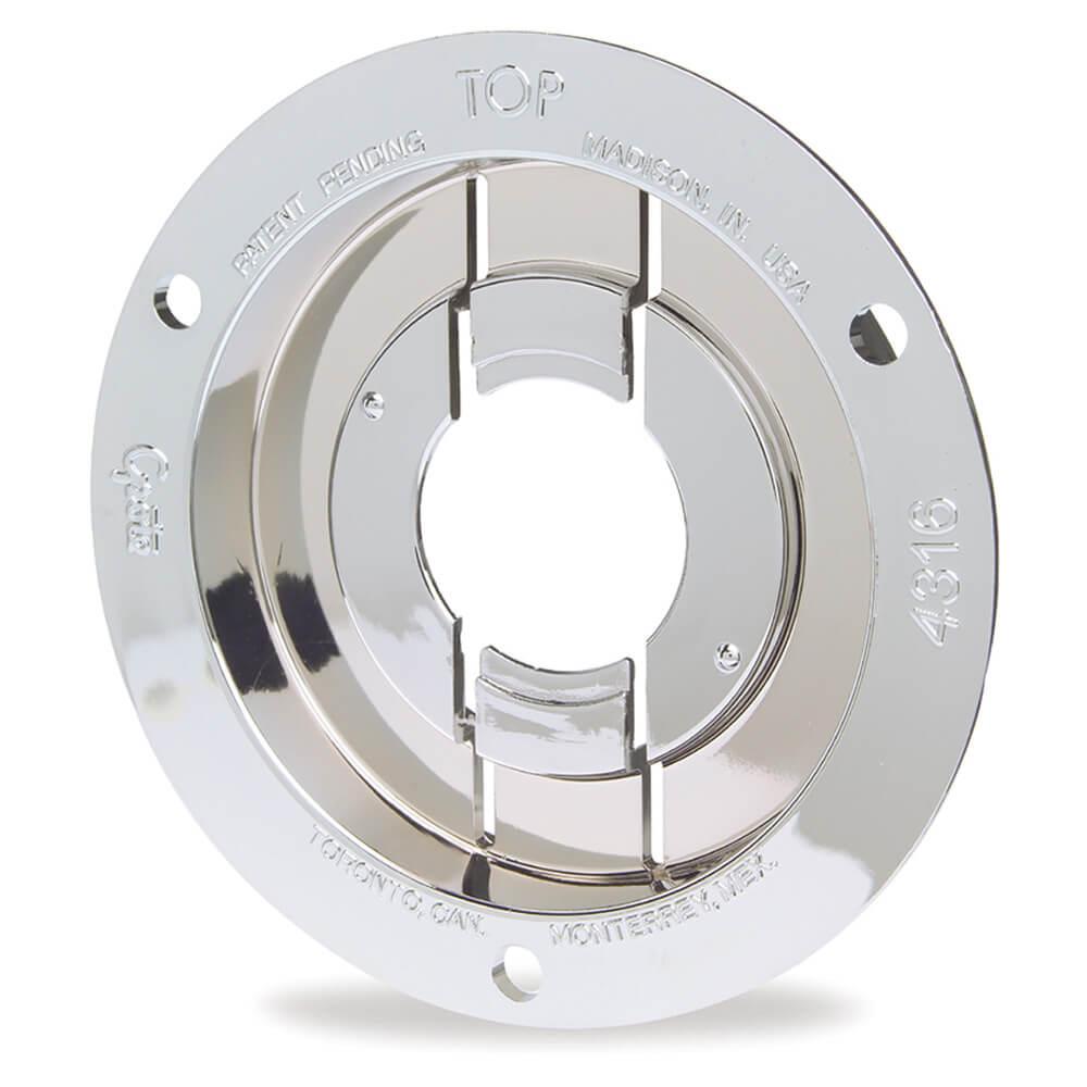 """Brida antirrobo de montaje y tapa de retención de conector flexible para luces redondas de 2 1/2"""", Brida de montaje, cromo"""
