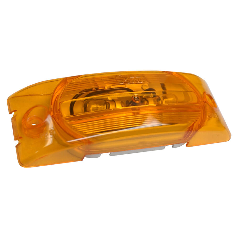 Two-Bulb Turtleback® Clearance Marker Light, Optic Lens, Yellow