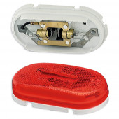 two bulb oval pigtail type clearance marker light reflector red