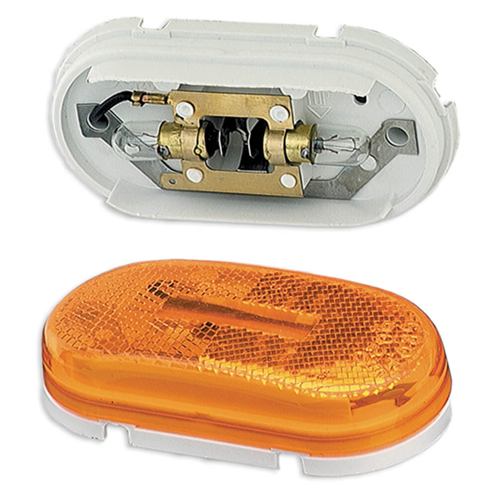 two bulb oval pigtail type clearance marker light reflector yellow