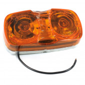 two bulb square corner clearance marker light amber die cast