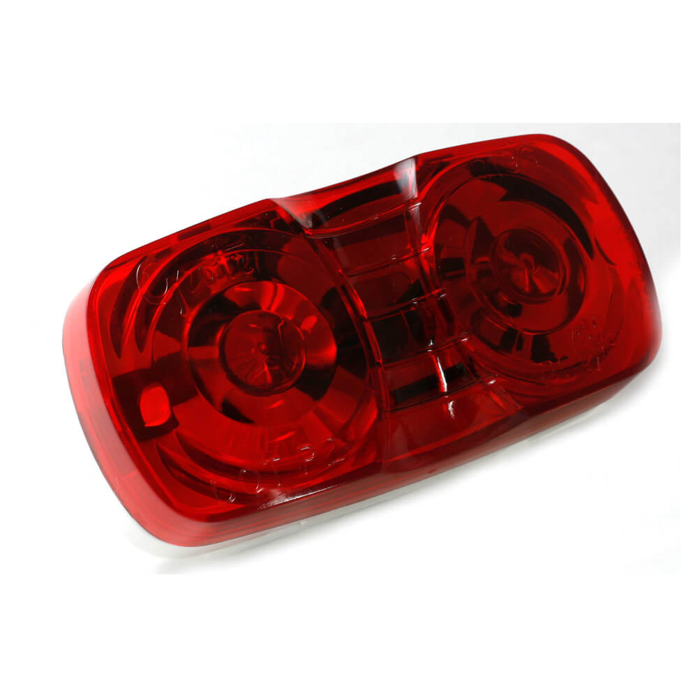two bulb square corner clearance marker light duramold red