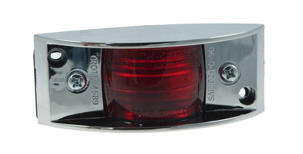 luz de gálibo/marcadora blindada, cromo, rojo
