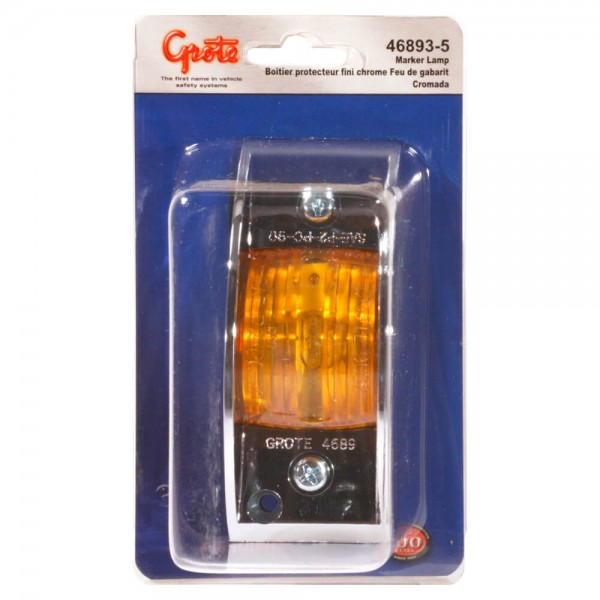 chrome armored clearance marker light amber retail