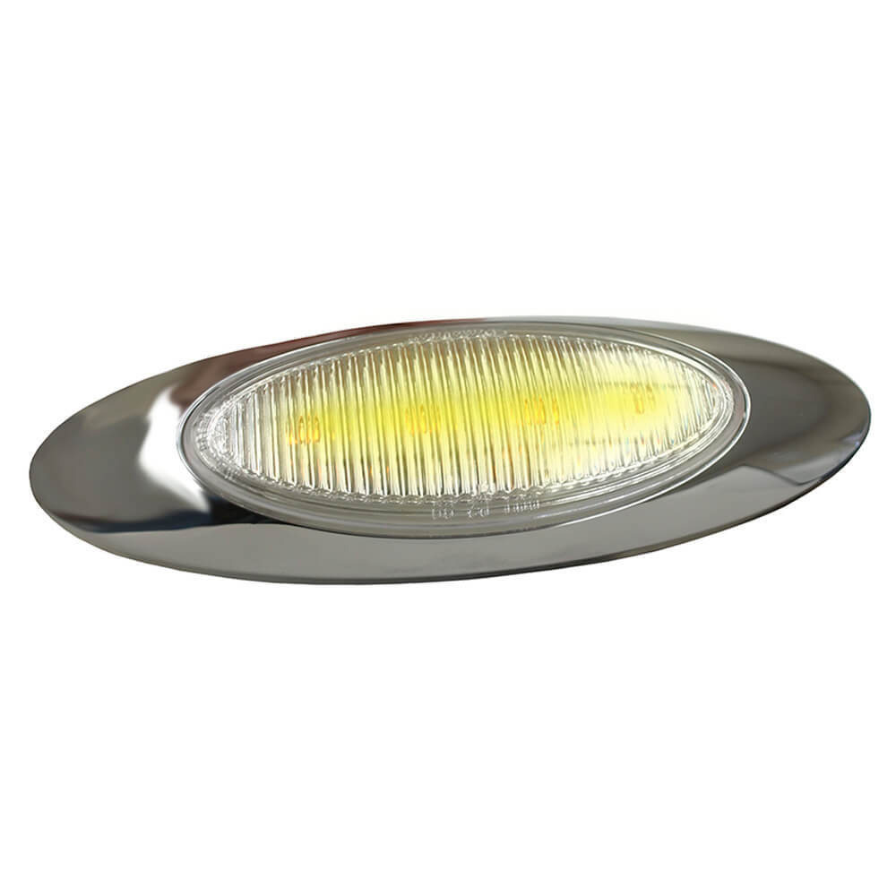 m1 series led clearance marker light molded bullet bezel clear lens yellow