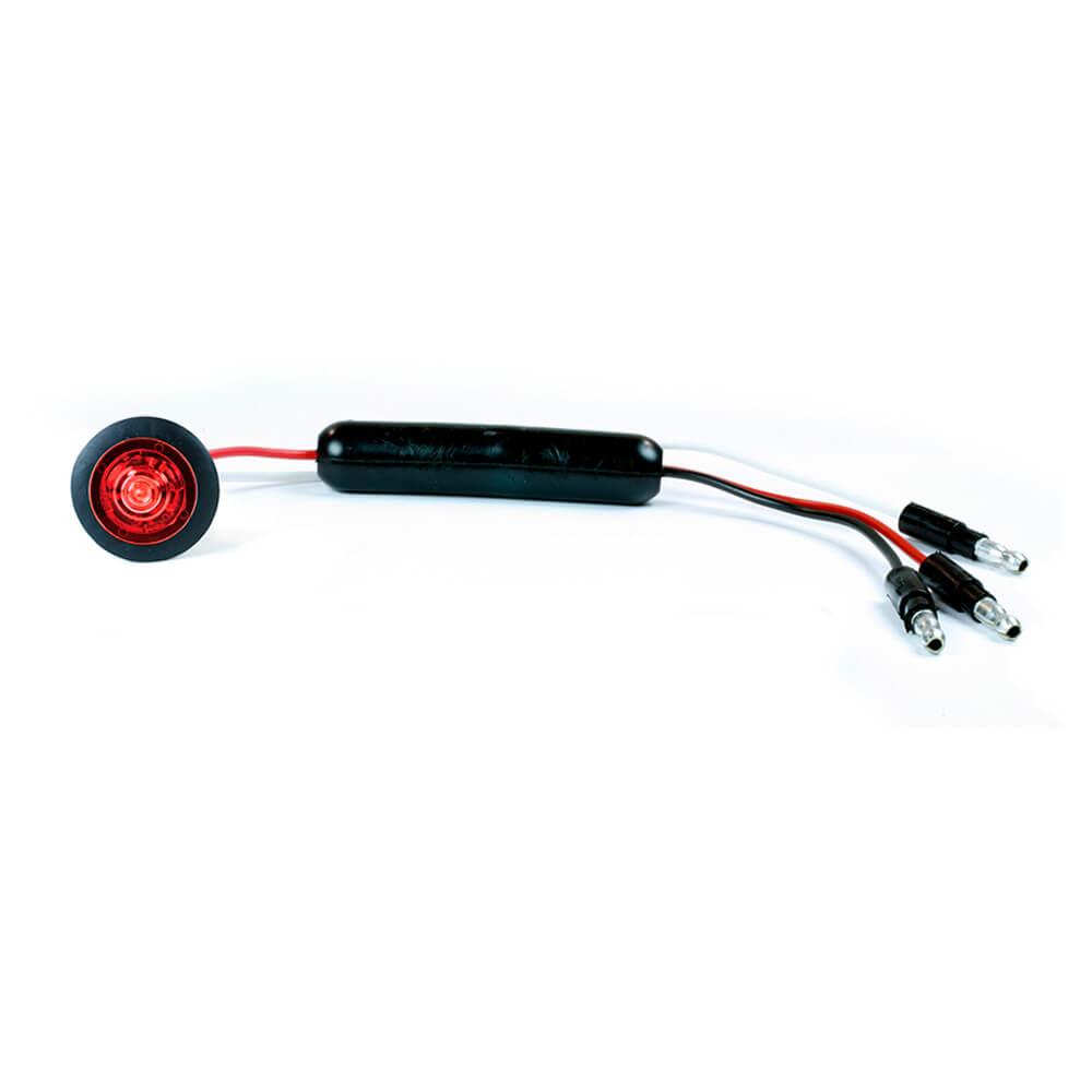 Luz LED de gálibo/marcadora delgada roja con aro protector.