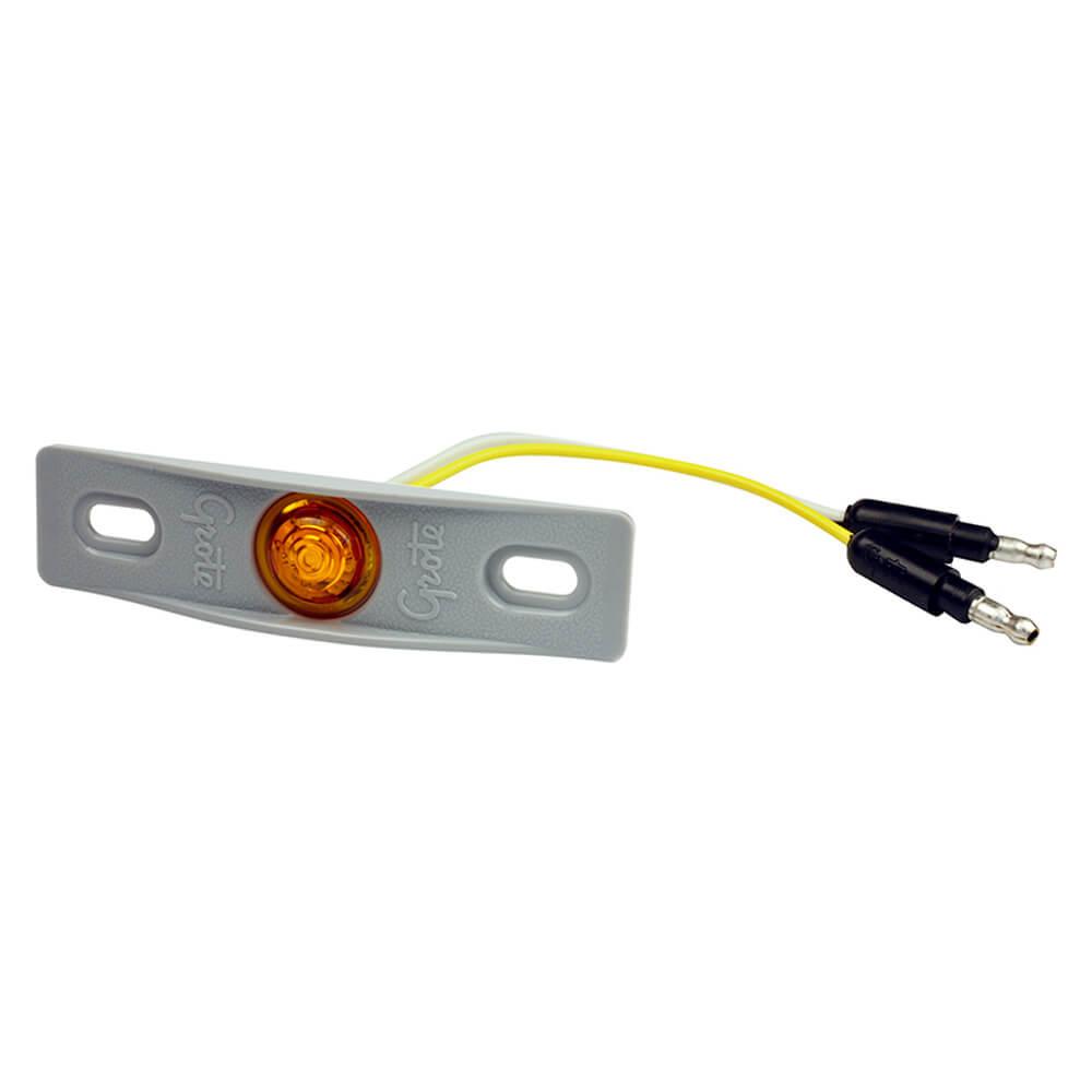 MicroNova® Dot Yellow LED Clearance Marker Light With Gray Adapter Bracket.
