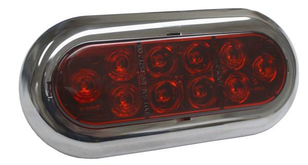 Oval LED Stop Tail Turn Light, Chrome Trim Ring