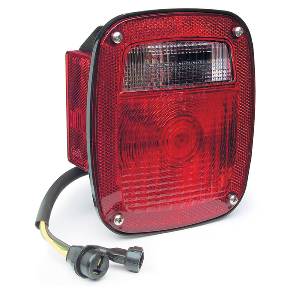 three stuf chevrolet ford jeep stop tail turn light w/ side marker molded pigtail termination lh red