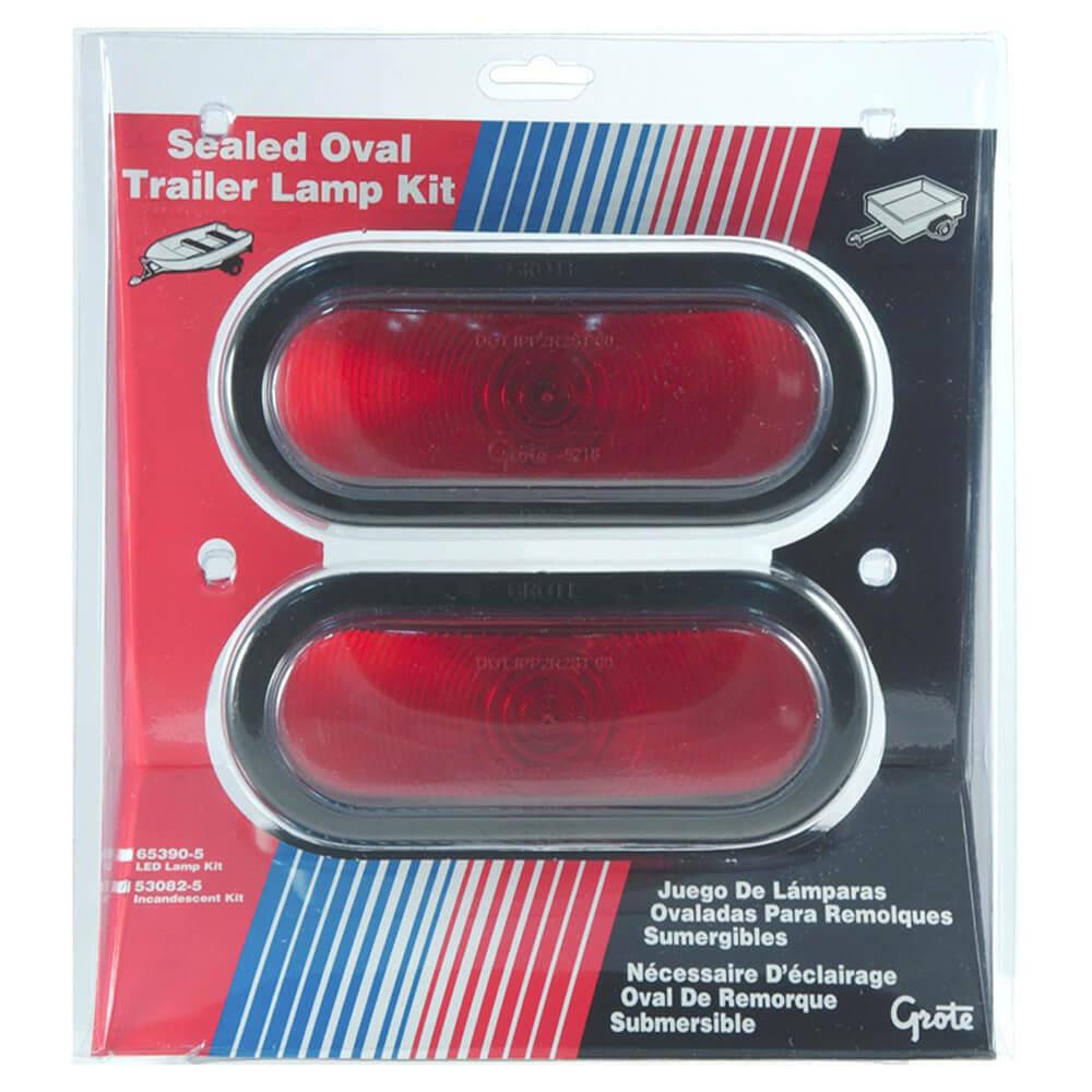 kit de feux arrêt/arrière/clignotant submersibles ovales pour remorque, vente au détail, rouge