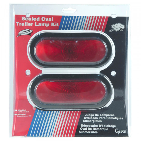 oval trailer stop tail turn submersible lighting kit retail red