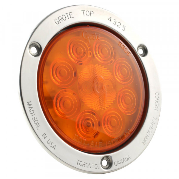 Amber LED Stop Tail Turn Light With Stainless Steel Theft Resistant Flange.