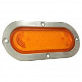 oval led stop tail turn light with stainless steel theft resistant flange