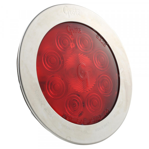 """SuperNova® 4"""" 10-Diode Pattern LED Stop Tail Turn Light with Stainless-Steel Snap-In Flange"""