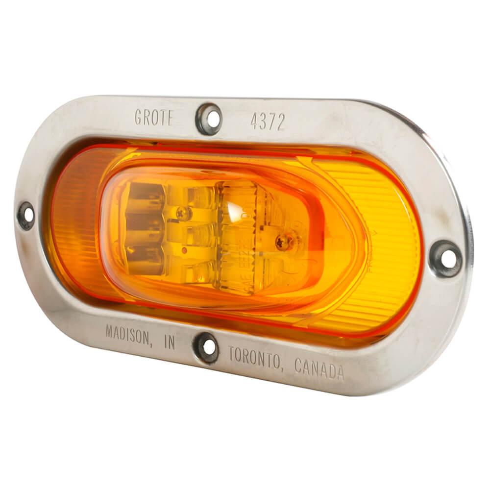 Grote 54203 SuperNova Oval LED Side Turn Marker Lights Integrated Flange Mount, Male Pin