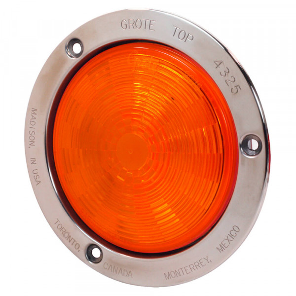 SuperNova Amber LED Auxiliary Light With Stainless Steel Flange.
