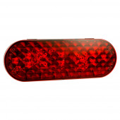 6 Inch Oval Red LED Stop Tail Turn Light With Female Pin Termination.