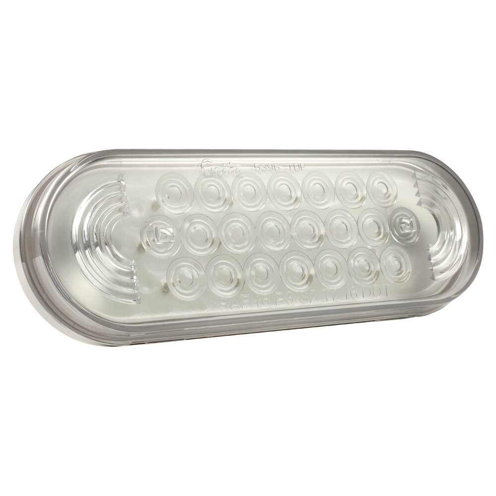 Red Oval LED Stop Turn Tail Light with Clear Lens