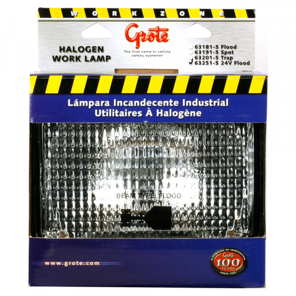 24 Volt Retail Large Flood Rectangular Halogen Work Light