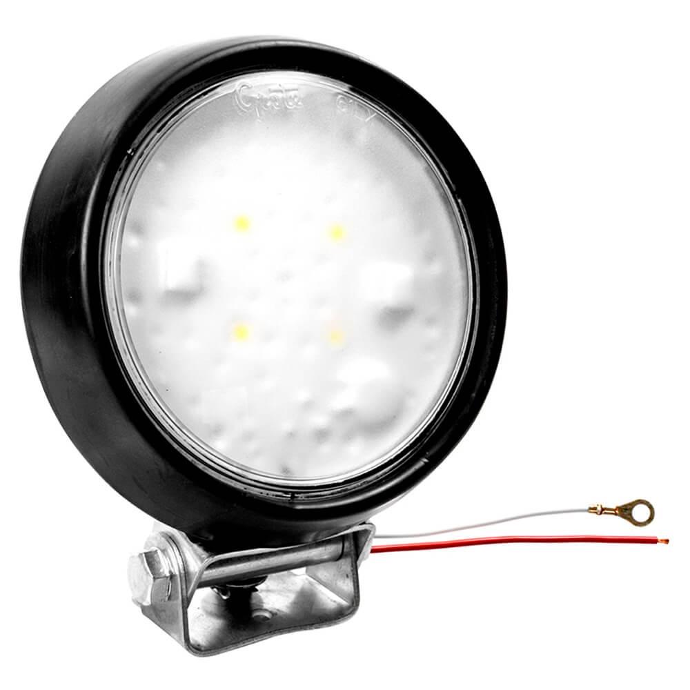 """led whitelight 4"""" dome light flood hardwire rubber housing 12v black bulk pack"""