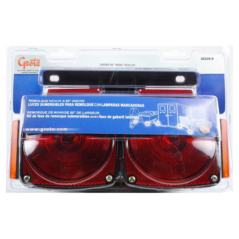 kit d'éclairage pour remorque submersible, feu de gabarit/encombrement, rouge, jaune
