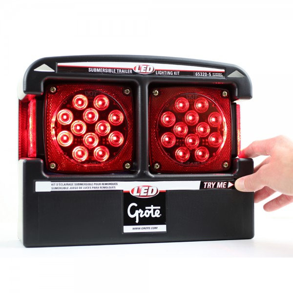 """submersible trailer lighting kit with """"try me"""" feature"""