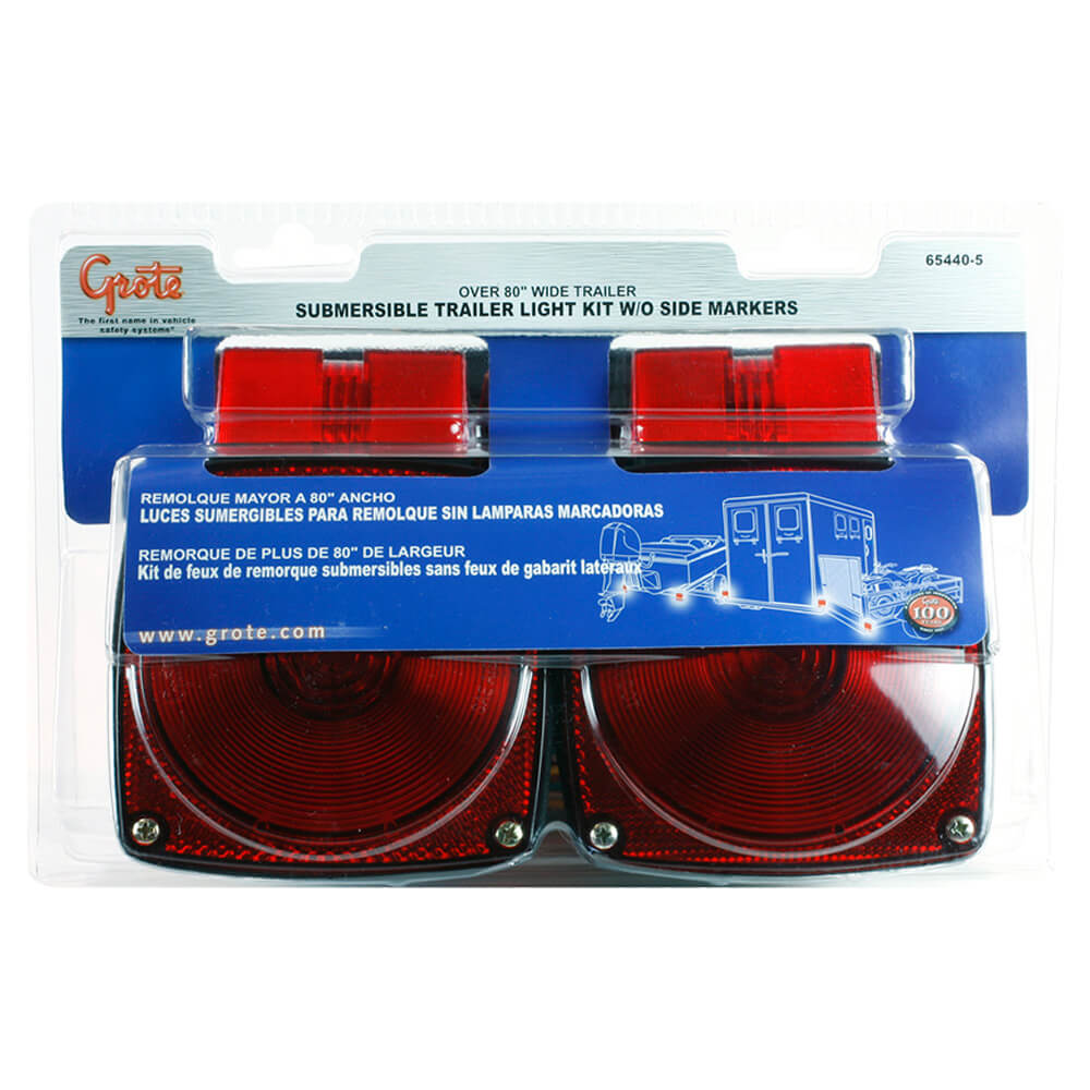"""Submersible Trailer Lighting Kit for Trailers Over 80"""" Wide, Stop Tail Turn Light Kit"""